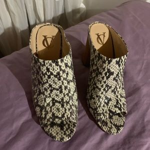 Vince camuto snakeskin mules